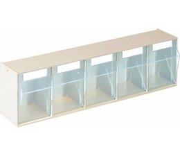 Modules de bacs basculants transparents 600x164x133 • 5 compartiments