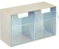 Modules de bacs basculants transparents 600x246x353 • 2 compartiments