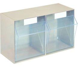 Modules de bacs basculants transparents 600x246x353 • 2 compartiments