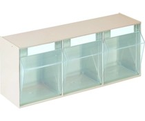 Modules de bacs basculants transparents 600x163x242 • 3 compartiments