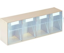 Modules de bacs basculants transparents 600x137x207 • 4 compartiments