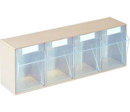 Modules de bacs basculants transparents 600x137x207 • 4 compartiments