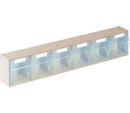 Modules de bacs basculants transparents 600x75x113 • 6 compartiments