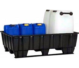 Spill containment pallet 1220x820x370 mm • 2 skids • 235 Liter