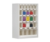 Parts storage cabinet with 25 clear boxes