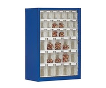Parts storage cabinet with 33 clear boxes