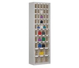 Parts storage cabinet with 43 clear boxes • 2000 mm high