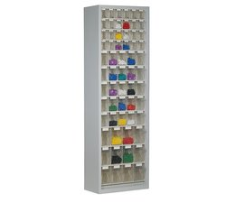 Parts storage cabinet with 61 clear boxes • 2000 mm high