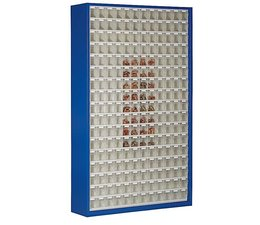 Parts storage cabinet with 204 clear boxes • 2000 mm high