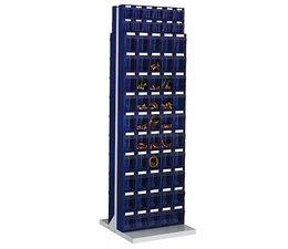 Dubbelzijdig kantelbakkenmagazijn op staander met 124 kantelbakjes