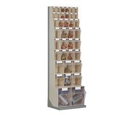 Workshop shelf with 37 bins
