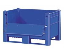DOLAV Caisse palette 1200x800x740 • 500L bleu plein, avec ouverture latérale