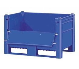 DOLAV Palettenbox 1200x800x740 mm, volume 500 l, 2 langslatten, voor zware lasten en voedingsgeschikt met deur