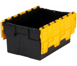 LOADHOG Attached lid container 600x400x310 yellow • 56 Liter