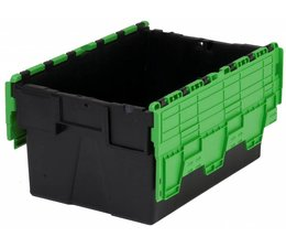 LOADHOG Attached lid container 600x400x310 green • 56 Liter