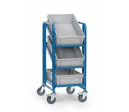 Chariots 410x610x1100 pour bacs plastiques • 3 étages • conçus pour 3 bacs norme Europe • Bacs non compris.