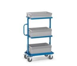 Bijzetwagen 820x450x1178 • 3 houten niveaus • geschikt voor 3 Eurobakken • bakken niet inbegrepen