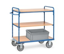 Shelved trolley 850x500x1111 • 3 shelves • with timber boards