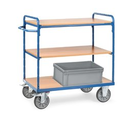 Shelved trolley 850x500x1111 • 3 shelves • with timber boards • boxes not included