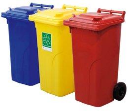 Abfall- und Wertstoffsammelbehälter, 2-Rad Container, 120L, nach DIN EN 840, Tragkraft 60 kg
