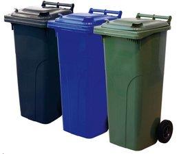 Abfall- und Wertstoffsammelbehälter, 2-Rad Container, 140L, nach DIN EN 840, Tragkraft 84 kg