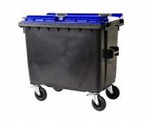 Waste containers with flat lid • 660 Liters • 4 swivel wheels • max load 310 kg • Standard grey