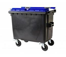 Afvalcontainer, 660L, Conform DIN EN 840, 4 zwenkwielen, draagkracht 310 kg, Standaard grijs