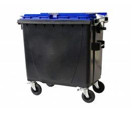 Afvalcontainer, 770L, conform DIN EN 840, 4 zwenkwielen, draagkracht 360 kg, Standaard grijs