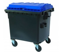 Waste containers flat lid • 1100 Liters• 4 swivel wheels • max load 510 kg • Standard grey