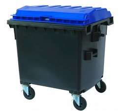 Waste and recycling containers, 1100L, according DIN EN 840, 4 wheels, max load 510 kg, Standard grey
