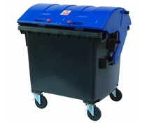 Waste containers round lid • 1100 Liters• 4 swivel wheels • max load 510 kg • Standard Grey