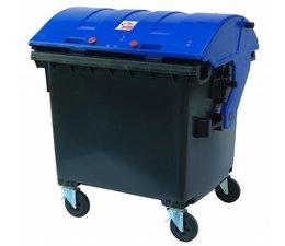 Afvalcontainer, 1100L, conform DIN EN 840, 4 zwenkwielen, draagkracht 510 kg, Standaard Grijs