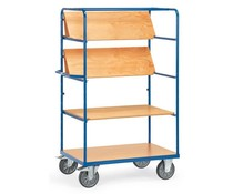 Shelved trolley 1000x700x1800 mm • 3 shelves • with timber boards