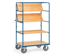 Shelved trolley 1000x700x1800 mm • 3 foldable shelves • with timber boards