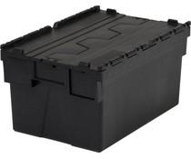 LOADHOG Attached lid container 600x400x400 dark grey • 77 Liter