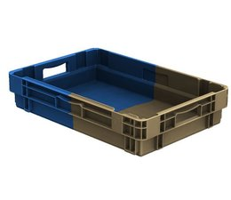 Stack nest container 600x400x123 closed, 2 grips 22 Liter • Bi-Color