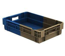 Stapel- en nestbare bakken 600x400x143 gesloten, 25 Liter, 2 handgrepen • Bi-Color