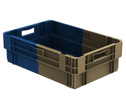 Stack nest container 600x400x183 closed, 2 grips 34 Liter • Bi-Color