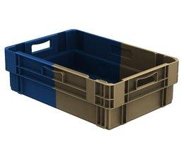 Stapel- en nestbare bakken 600x400x183 gesloten, 34 Liter, 2 handgrepen • Bi-Color
