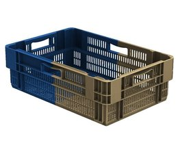 Stack nest container 600x400x187 perforated, 4 grips 34 Liter • Bi-Color