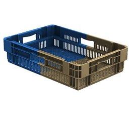 Stapel- en nestbare bakken 600x400x143 geperforeerd, 25 Liter, 4 handgrepen • Bi-Color