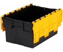 LOADHOG Attached lid container 600x400x400 yellow • 77 Liter