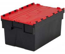 LOADHOG Attached lid container 600x400x400 red • 77 Liter