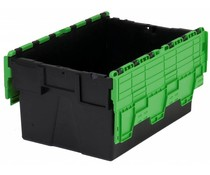 LOADHOG Attached lid container 600x400x400 green • 77 Liter