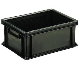 ESD Euro container 400x300x170 solid two handles, suited for handling of electronic components