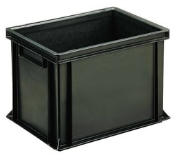ESD Euro container 400x300x270 solid two handles, suited for handling of electronic components