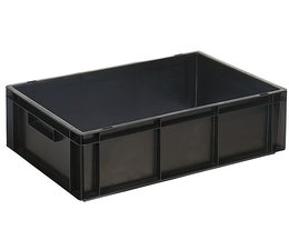ESD Euro container 600x400x170 solid two handles, suited for handling of electronic components