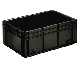 ESD Euro container 600x400x236 solid two handles, suited for handling of electronic components