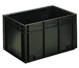 ESD Euro container 600x400x340 solid two handles, suited for handling of electronic components
