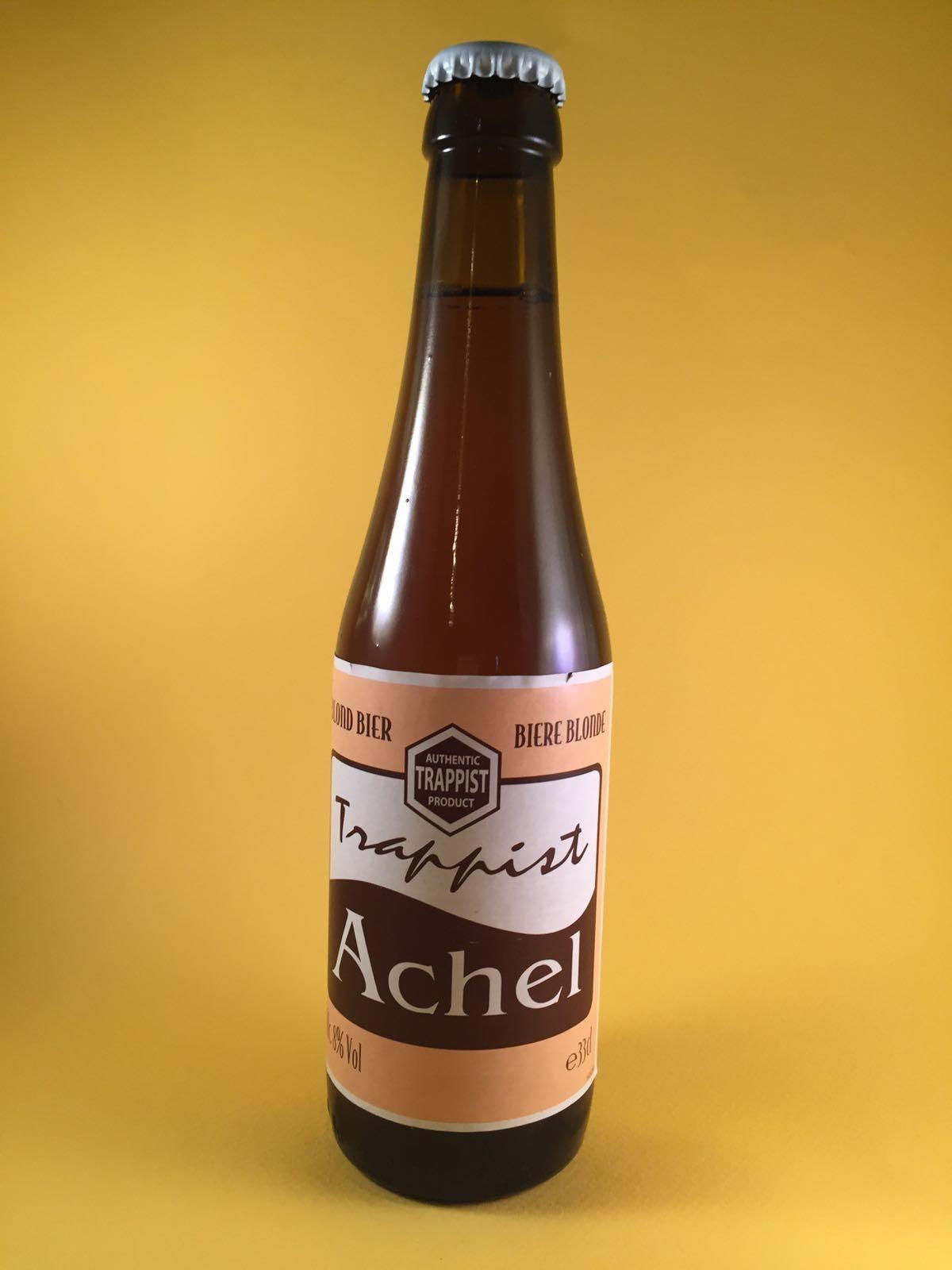 Achel Trappist Blond Herkomst: Hamont-Achel, België Diepbruin Trappistenbier met een hoppige aroma en een lichtzoete smaak. Het bier heeft een volle smaak, fijn in de mond maar heeft een sterke afdronk. Achel Trappist Blond bevat een alcoholpercentage van 8%. Advies serveertemperatuur: 7 a 8 graden.